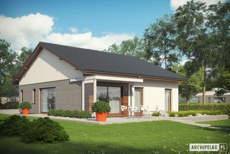Projekt domu Armando II G1 ENERGO - wizualizacja ogrodowa