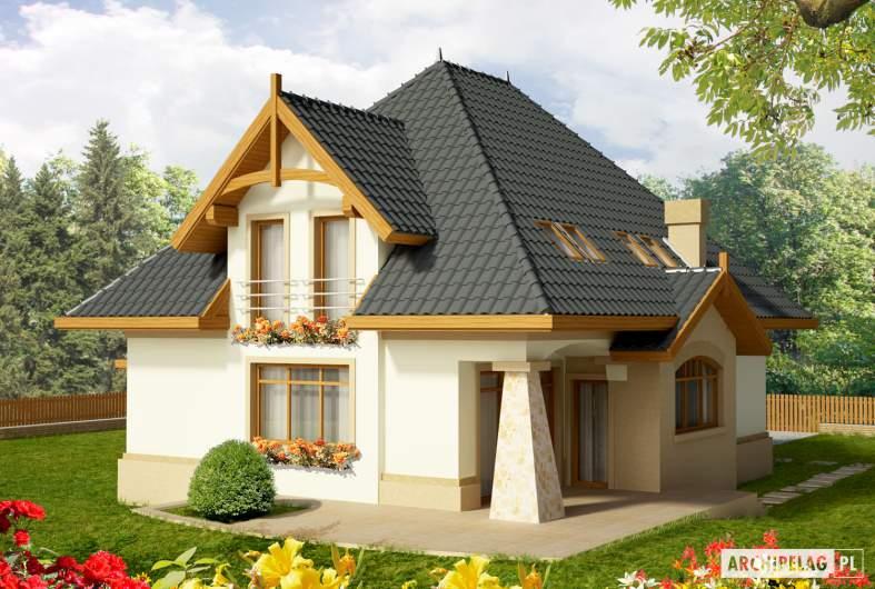 Projekt domu Stokrotka G1 - wizualizacja ogrodowa