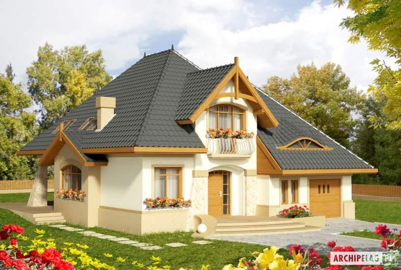 Projekt domu Stokrotka G1 - wizualizacja frontowa