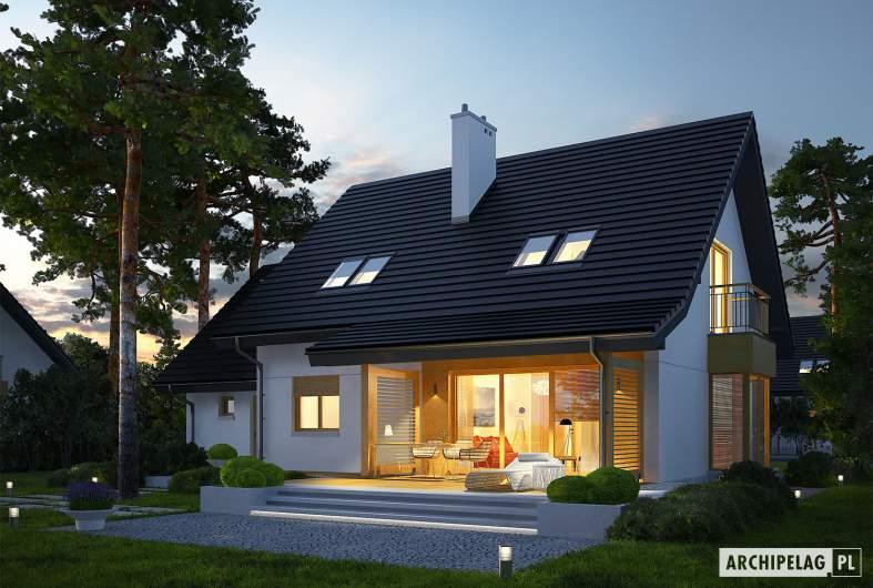 Projekt domu Marisa III G1 ENERGO - wizualizacja ogrodowa nocna