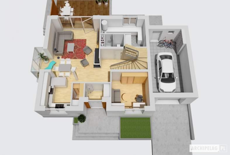 Projekt domu Marisa III G1 ENERGO - rzut parteru 3D