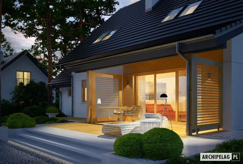 Projekt domu Marisa III G1 ENERGO - wizualizacja ogrodowa nocna szczegół