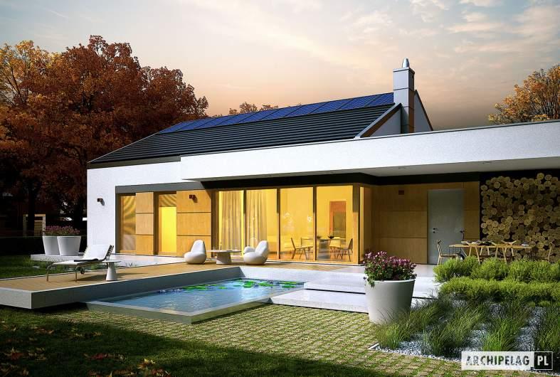 Projekt domu EX 11 G2 (wersja C) soft - wizualizacja ogrodowa nocna