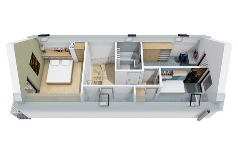 Projekt domu Moniczka II (wersja B) - wnętrze 3D poddasze