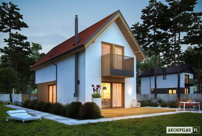 Projekt domu Moniczka II (wersja A) - wizualizacja ogrodowa nocna