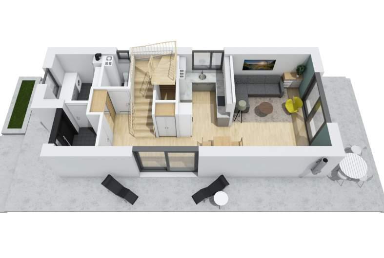 Projekt domu Moniczka II (wersja B) - wnętrze 3D parter