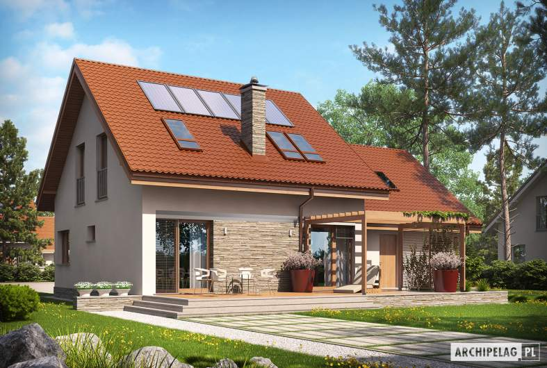 Projekt domu Leosia II G2 ENERGO - wizualizacja ogrodowa