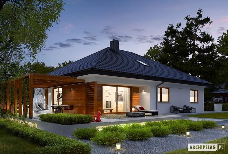 Projekt domu Astrid G2 - wizualizacja ogrodowa nocna