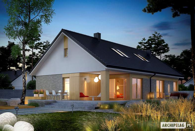 Projekt domu Daniel IV - wizualizacja ogrodowa nocna