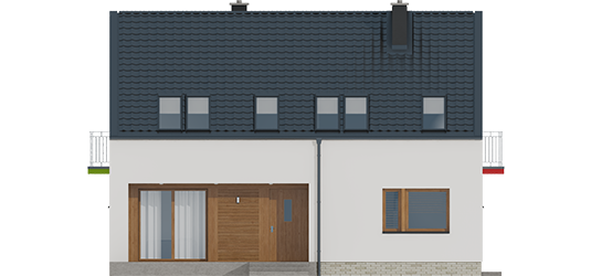 E2 ECONOMIC I A++ - Projekt domu E11 ECONOMIC - elewacja frontowa