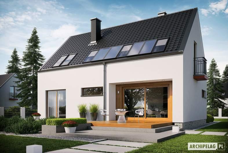 Projekt domu E11 ECONOMIC - wizualizacja ogrodowa