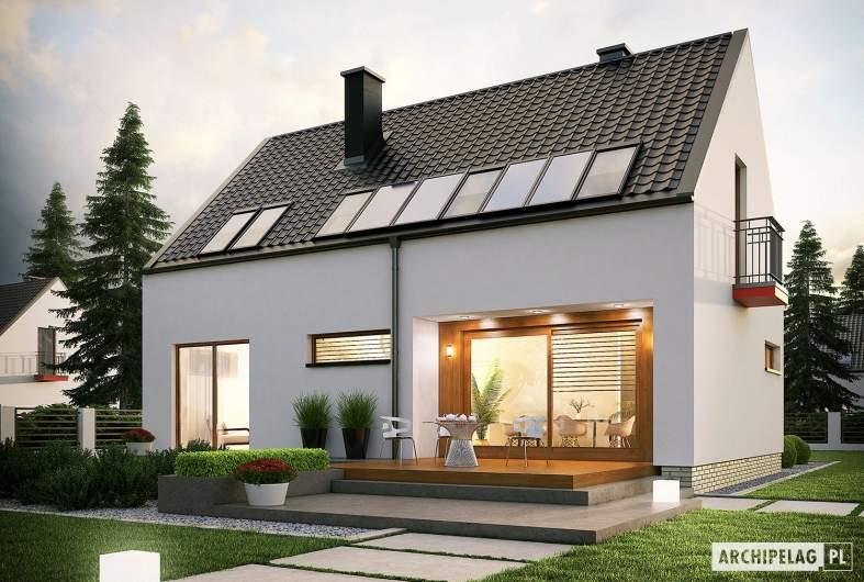Projekt domu E11 ECONOMIC - wizualizacja ogrodowa nocna
