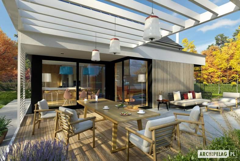 Projekt domu Mini 13 PLUS - wizualizacja ogrodowa detal