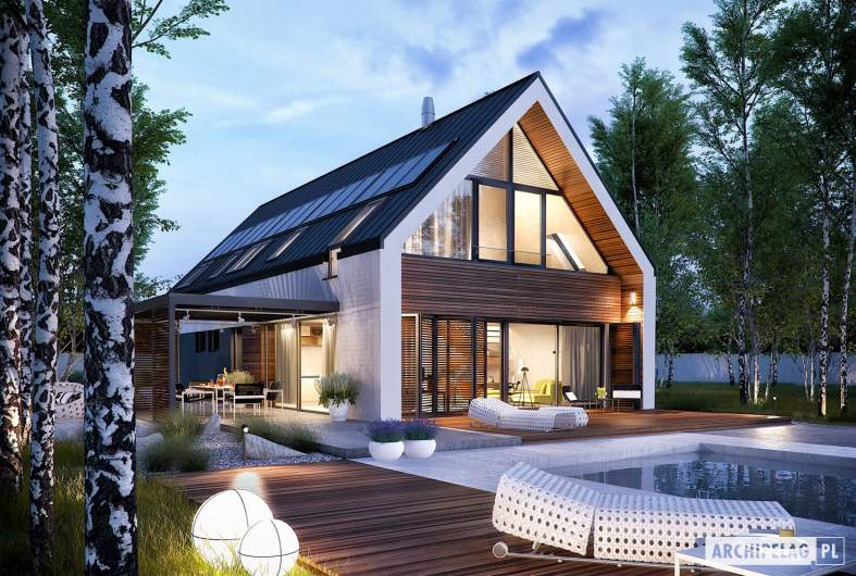 Projekt domu EX 19 G2 ENERGO PLUS - wizualizacja ogrodowa nocna