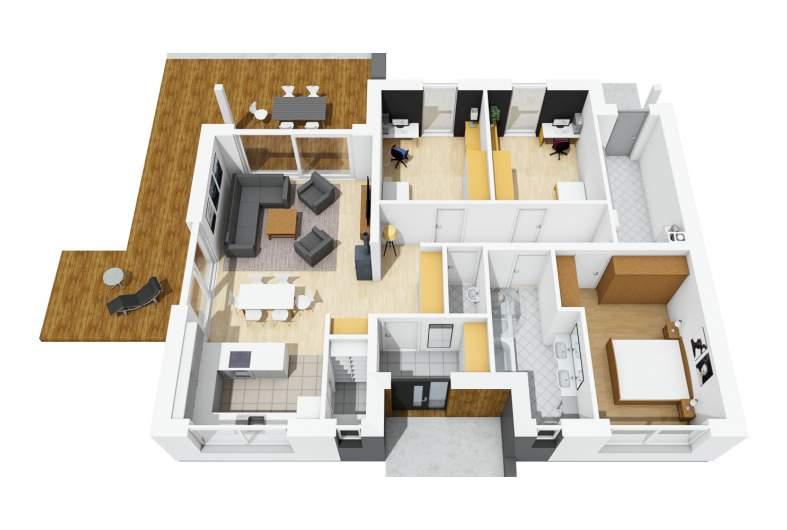 Projekt domu Mini 4 - parter 3D