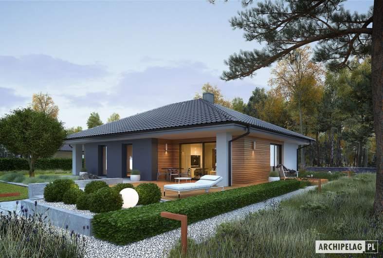 Projekt domu Mini 4 - wizualizacja ogrodowa nocna