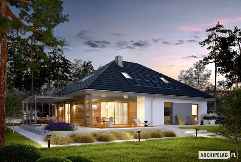 Projekt domu Astrid  II G2 - wizualizacja ogrodowa nocna