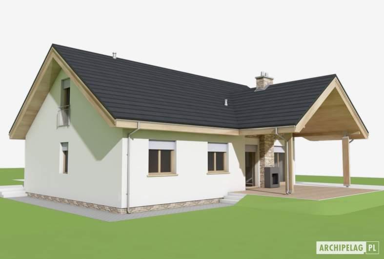 Projekt domu Simon (mały) G1 - wizualizacja ogrodowa lewa