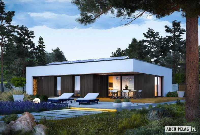 Projekt domu Mini 4 MODERN PLUS - wizualizacja ogrodowa nocna
