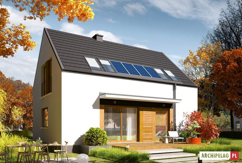 Projekt domu E12 ENERGO PLUS - wizualizacja ogrodowa