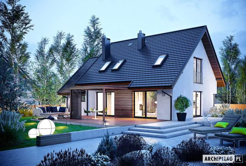 Projekt domu Mini 8 G1 - wizualizacja ogrodowa nocna