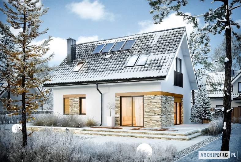 Projekt domu Witek - wizualizacja ogrodowa zimowa