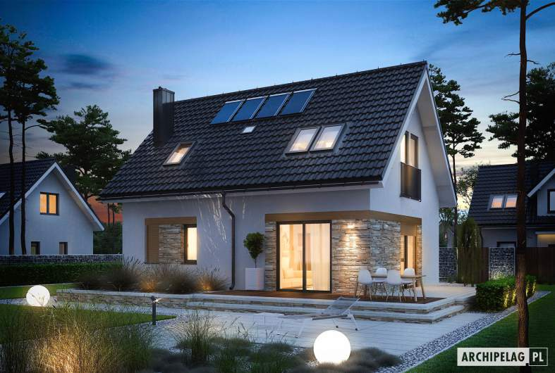 Projekt domu Witek - wizualizacja ogrodowa nocna