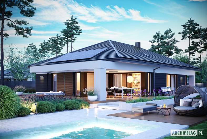 Projekt domu Alison III G2 ENERGO PLUS - wizualizacja ogrodowa nocna