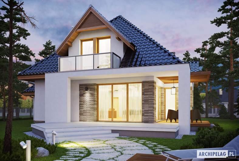 Projekt domu Amira G1 - wizualizacja ogrodowa nocna