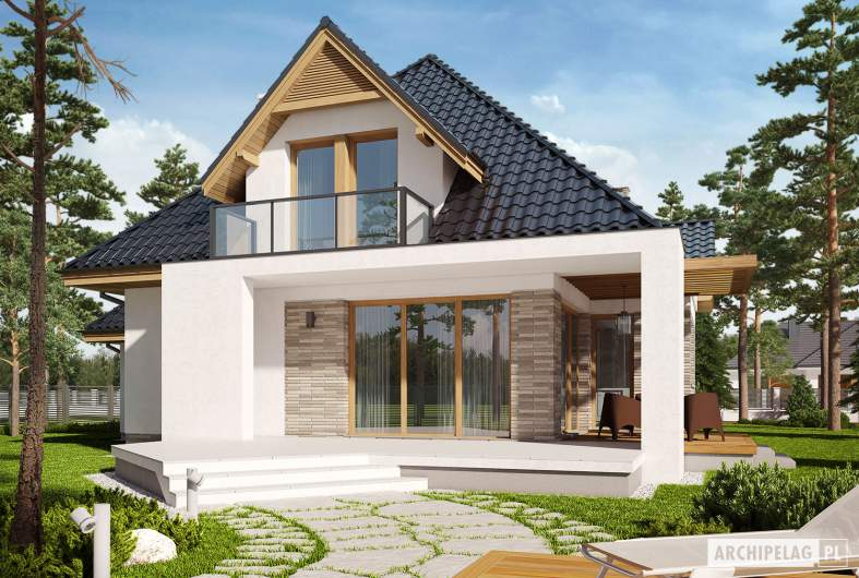 Projekt domu Amira G1 - wizualizacja ogrodowa