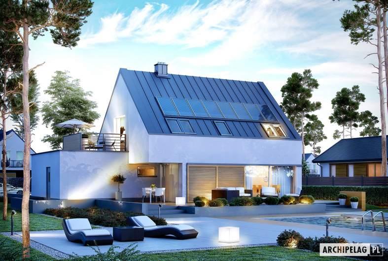 Projekt domu Lars G1 (wersja B) ENERGO PLUS - wizualizacja ogrodowa nocna