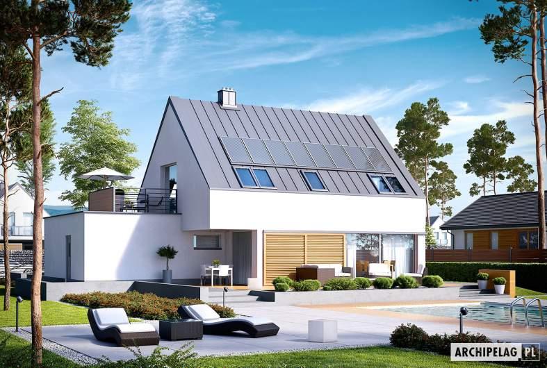 Projekt domu Lars G1 (wersja B) ENERGO PLUS - wizualizacja ogrodowa