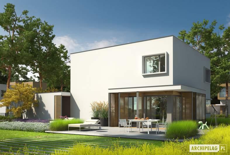 Projekt domu EX 10 II (z wiatą) - wizualizacja ogrodowa