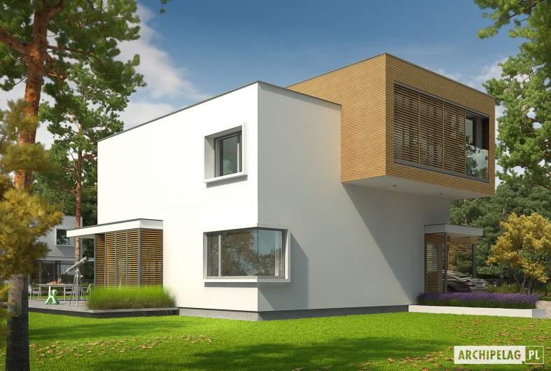 Projekt domu EX 10 II (z wiatą) - wizualizacja frontowa lewa