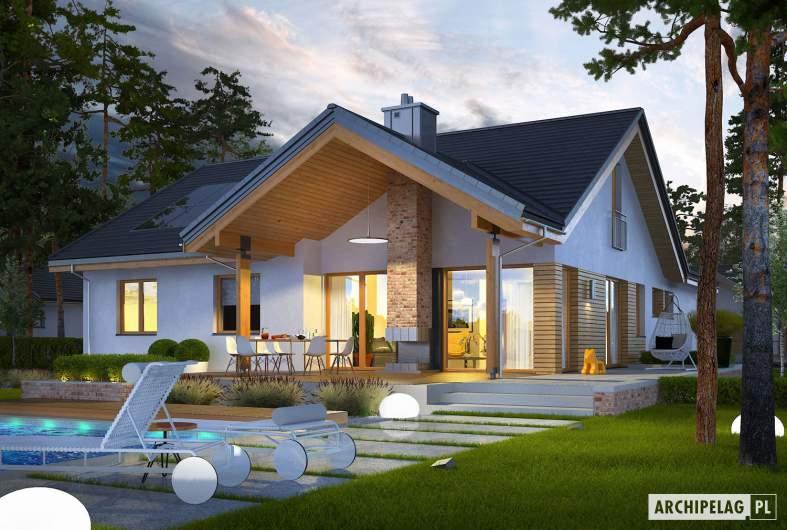 Projekt domu Simon G2 ENERGO PLUS - wizualizacja ogrodowa nocna