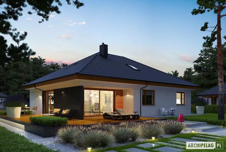 Projekt domu Astrid (mała) II G2 - wizualizacja ogrodowa nocna
