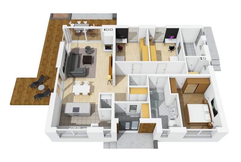 Projekt domu Mini 4 w. II - rzut 3D