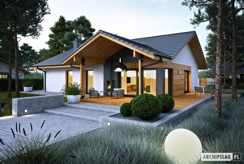 Projekt domu Mini 4 w. II - wizualizacja ogrodowa nocna
