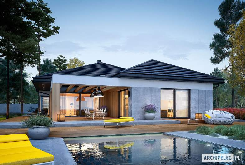 Projekt domu Karen G2 - wizualizacja ogrodowa nocna