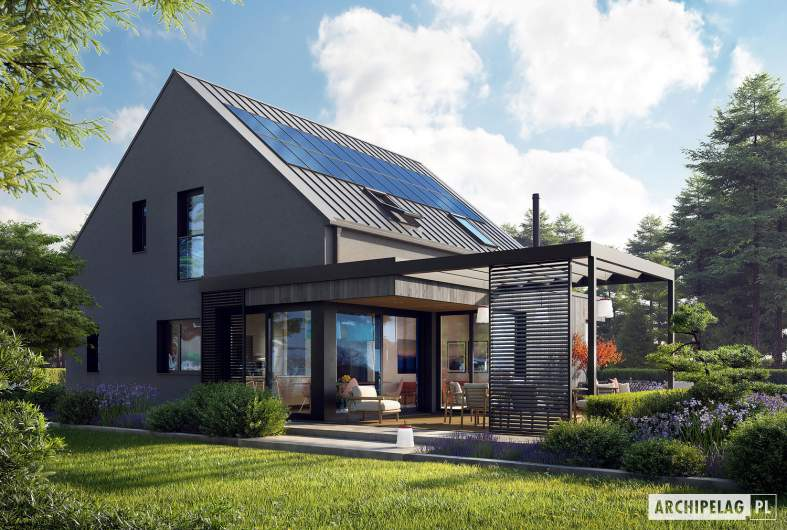 Projekt domu Mini 13 - wizualizacja ogrodowa prawa