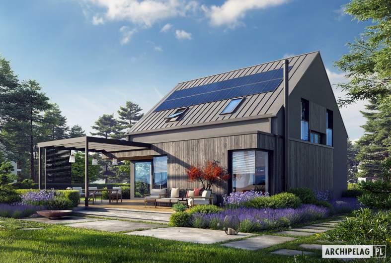 Projekt domu Mini 13 - wizualizacja ogrodowa lewa