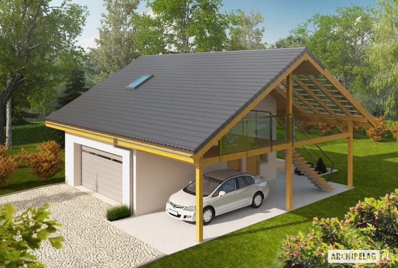 Projekt domu Garaż G31 (z wiatą) - Projekty garaży ARCHIPELAG - Garaż G31 (z wiatą) - widok z góry