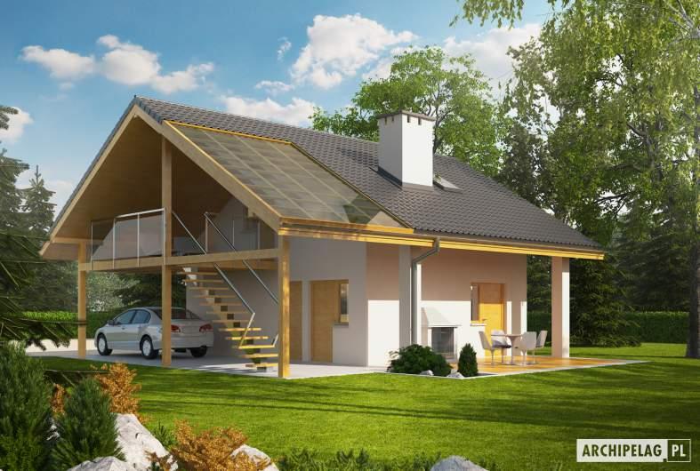 Projekt domu Garaż G31 (z wiatą) - Projekty garaży ARCHIPELAG - Garaż G31 (z wiatą) - wizualizacja ogrodowa