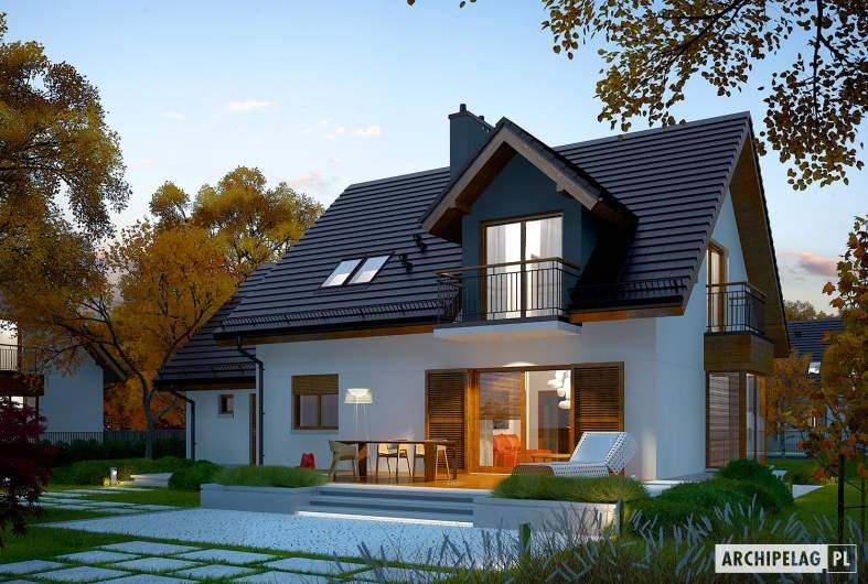 Projekt domu Marisa V G1 ENERGO - Projekty domów ARCHIPELAG - Marisa V G1 ENERGO - wizualizacja ogrodowa nocna