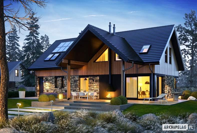 Projekt domu Nikolas G1 - wizualizacja ogrodowa nocna