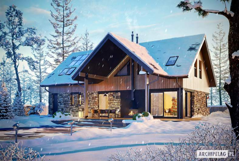 Projekt domu Nikolas G1 - wizualizacja ogrodowa zimowa