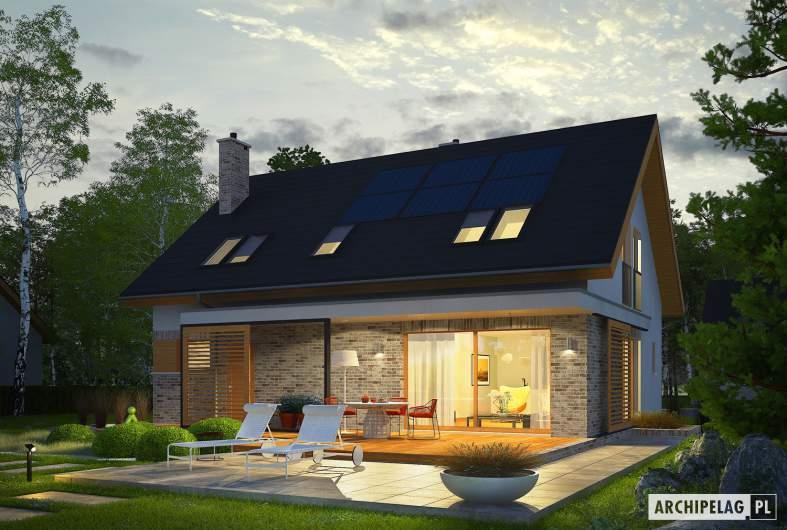 Projekt domu Logan - wizualizacja ogrodowa nocna