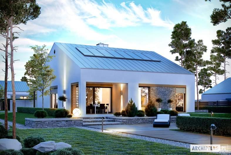 Projekt domu Ralf G1 - wizualizacja ogrodowa nocna