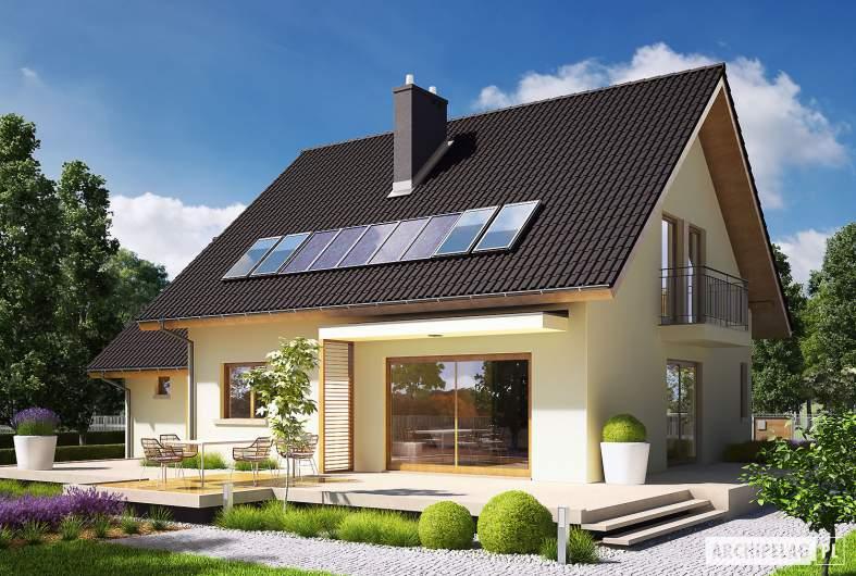 Projekt domu E5 G1 ECONOMIC (wersja A) - wizualizacja ogrodowa