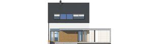 Projekt domu E8 (z wiatą) ENERGO PLUS - elewacja tylna